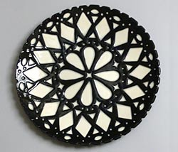 black and white round plate