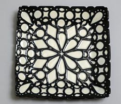 black and white square plate
