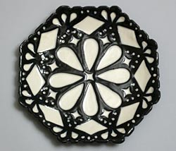 black and white octagonal plate