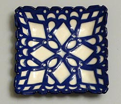 blue and white square plates