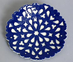 blue and white, small rectangle plate